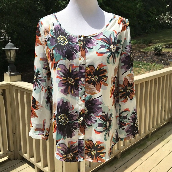 Land's End 2 Button Down Floral Blouse Ivory